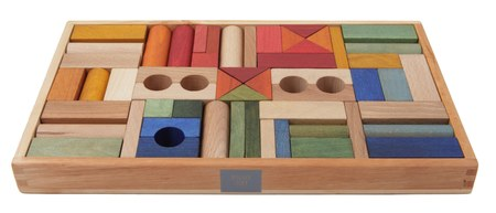 Wooden Story Rainbow Blocks in Tray, 54 Pieces