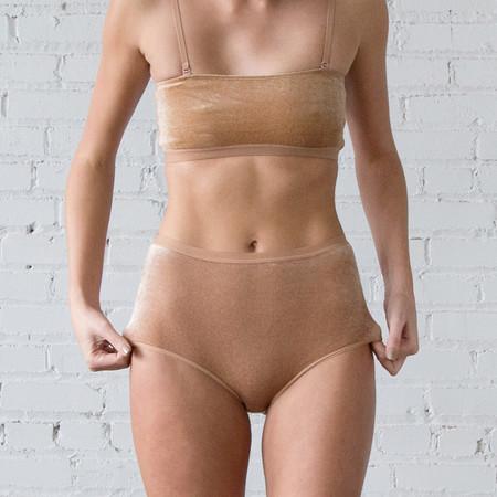 Baserange Base Range High Waist Bell Pant - Nude Velour