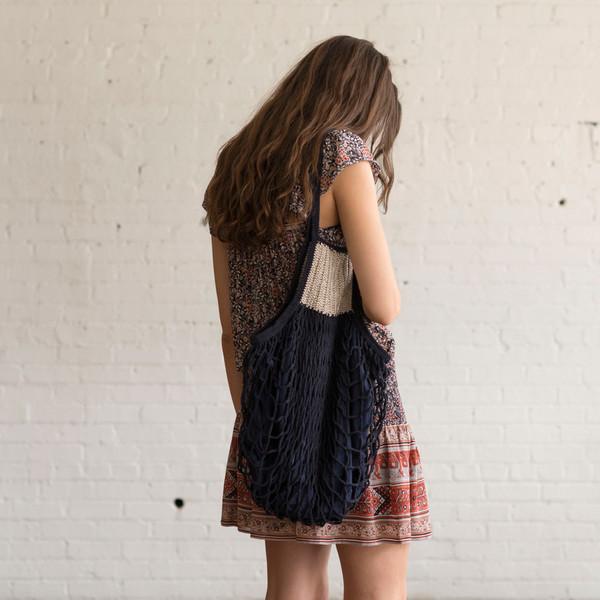 M. Patmos Crochet Mercado Bag Navy
