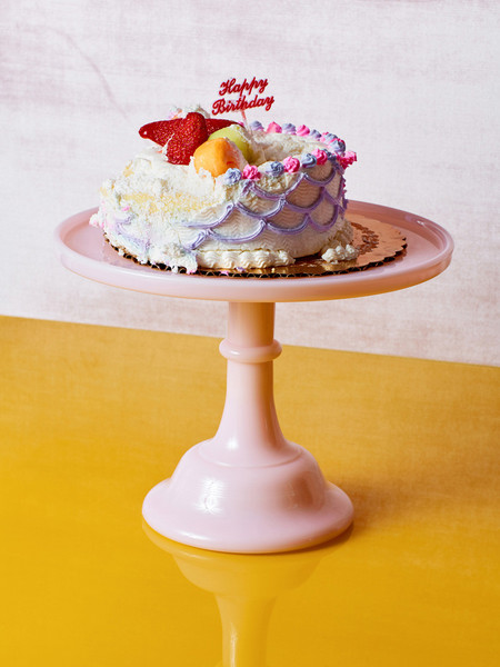 Mosser Glass Pink Milk Glass Cake Stand