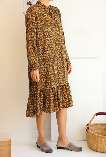 LAP Floral Printed Dress in Mustard