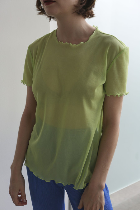 PRISCAVera Ruffled Mesh Tee in Honeydew