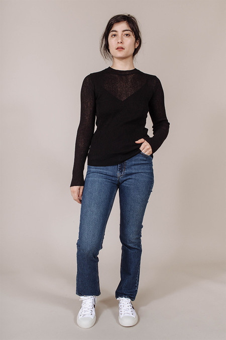 Achro Ribbed Knit Top in Black
