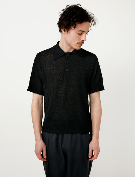 Our Legacy Knit Polo Shirt Boucle Hair Black