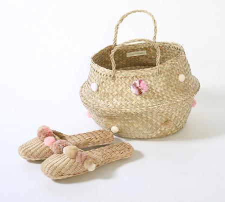 Rose quartz pink basket and slipper combo