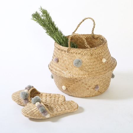 Charcoal Gray basket and slipper combo