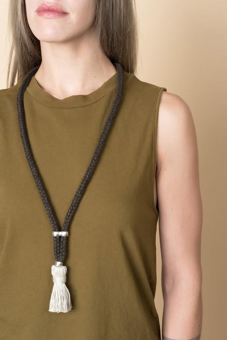 Erin Considine Triad Rope In Black Linen & Flax Tassel