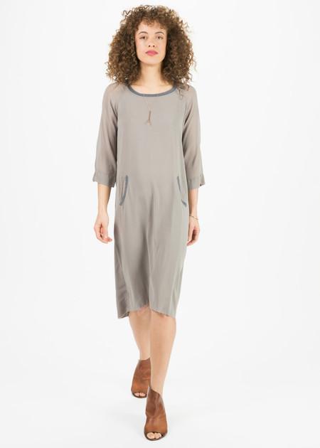 Kristensen du Nord Knit Collar Silk Dress