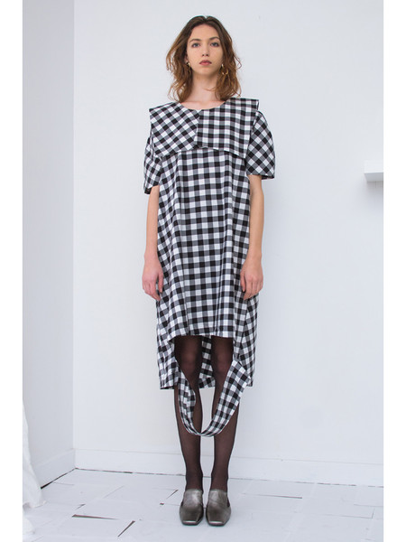 Nancy Stella Soto Gingham Cut Out Dress - Black