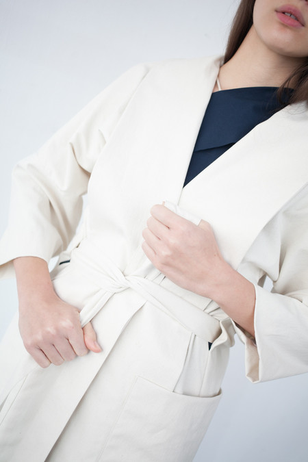 Luisa et la Luna Iva Robe Coat in Crudo Cotton