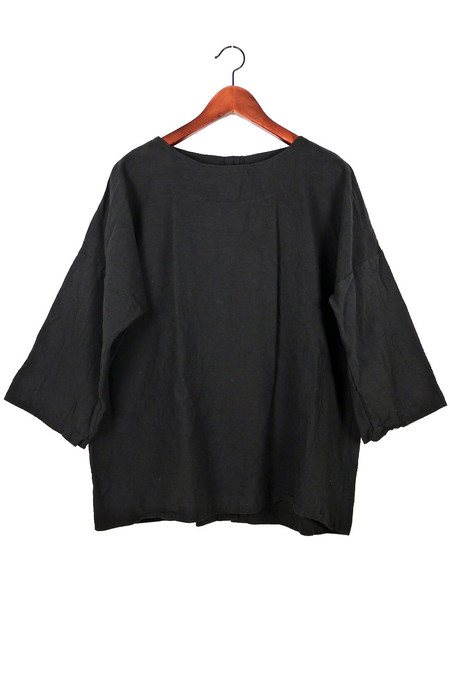 Uzi NYC Black Coarse Cotton Button Kimono