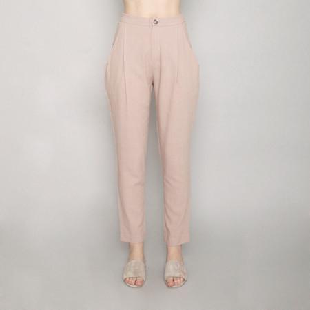 7115 by Szeki Gathered Linen Trouser - Beige - SS17