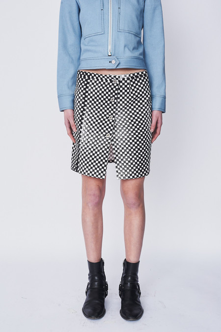 Assembly New York Cotton Checkered Denim Miniskirt