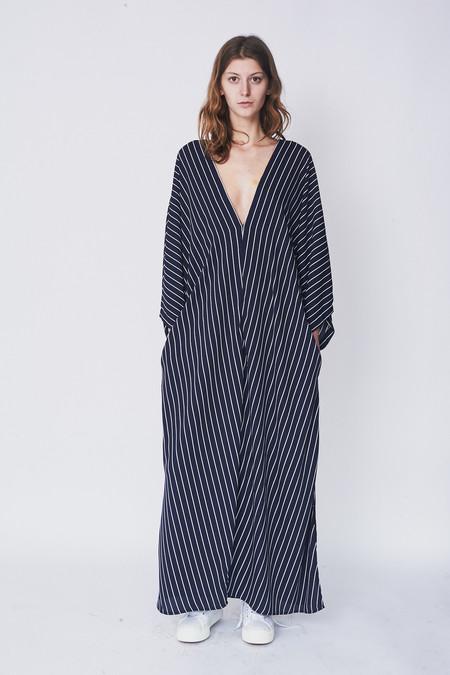 Assembly New York Poly Stripe Deep V-Neck Dress