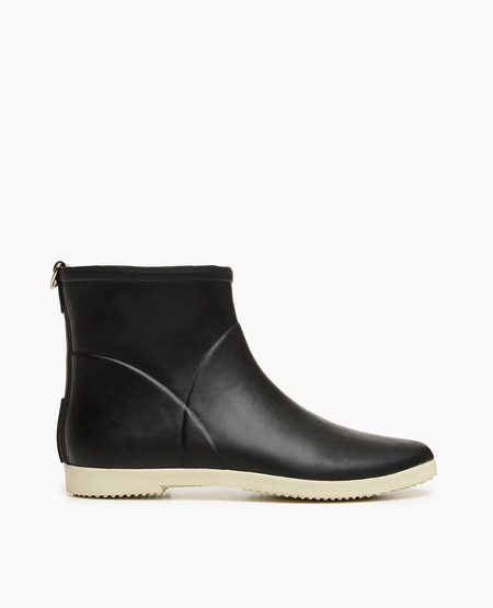 Coclico Alice + Whittles Minimalist Black + White Ankle Rain Boot