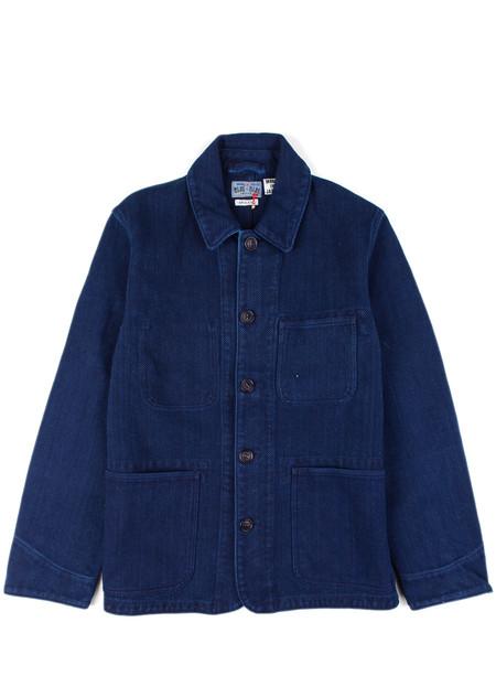 """Blue Blue Japan Pure Indigo """"Sashiko"""" Used Washed Coverall Jacket"""