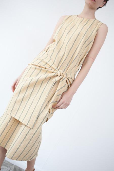Caron Callahan Mara Dress in Yellow Pinstripe