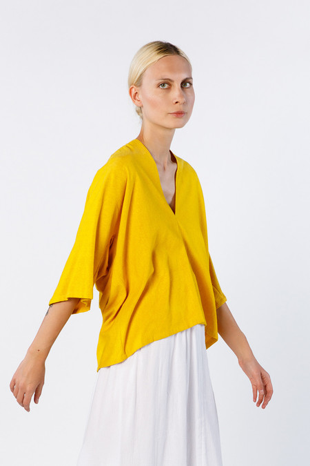 Miranda Bennett Muse Top - Silk Noil in Marigold