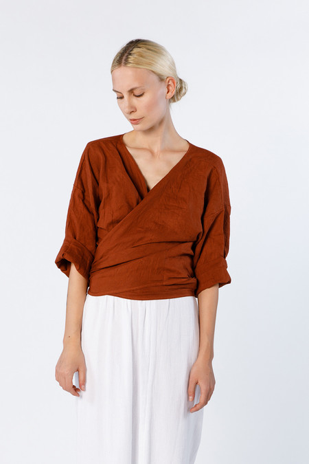 MIRANDA BENNETT Wrap Top - Linen in Marfa