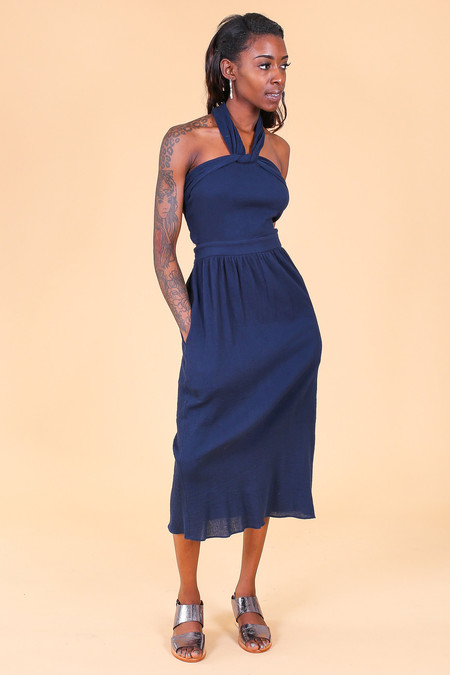 Svilu Tie Dress in Navy