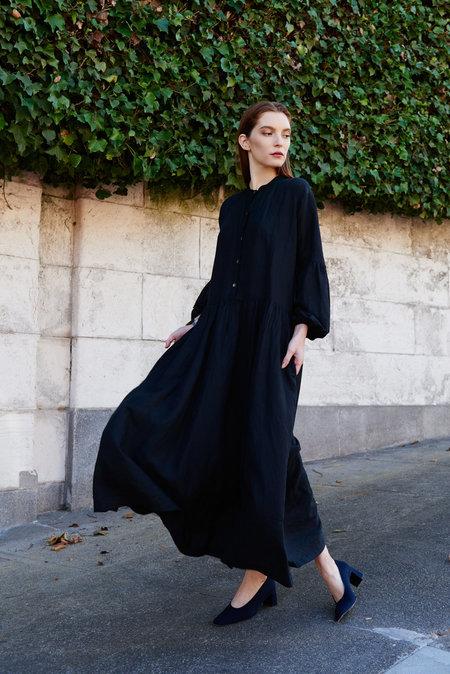 KAMPERETT Ferou Silk Linen Dress - Black