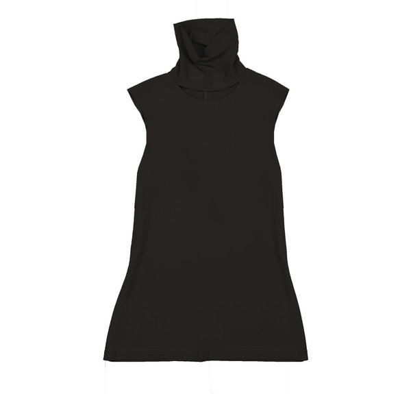 Vincetta Black Sleeveless Cut-Out Turtleneck