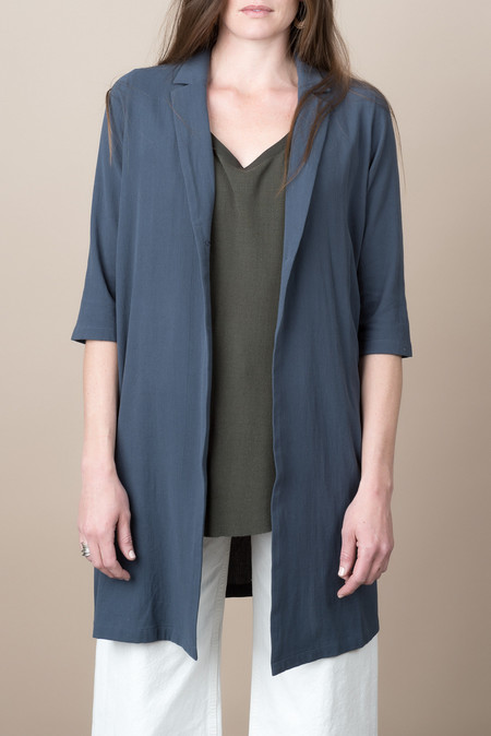 Evam Eva Cotton Double Cloth Robe In Blue/Gray