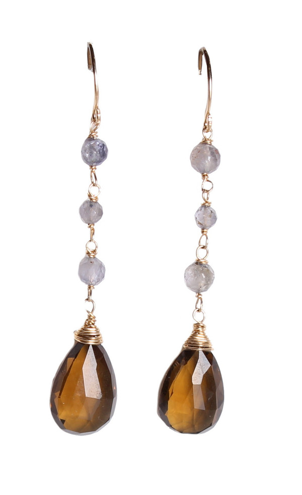 James and Jezebelle Honey Topaz and Iolite Drop Earrings