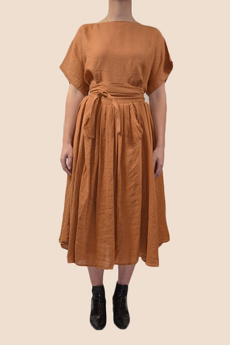Black Crane Wrap Skirt | Rust