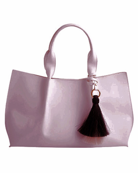 Oliveve isabel tote in mink saddle leather with grey/black double horsehair tassel