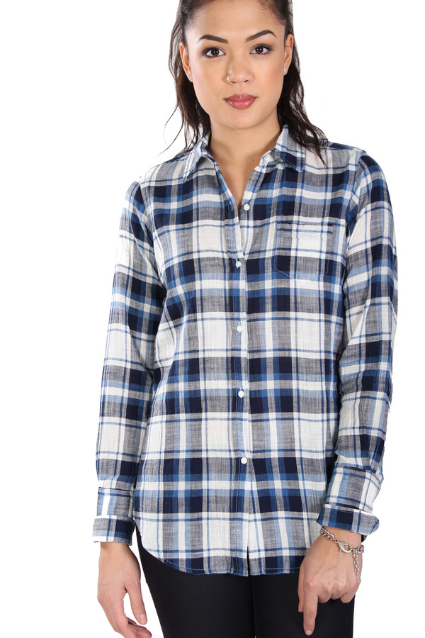 Nili Lotan Shirt Chambray Plaid in Blue