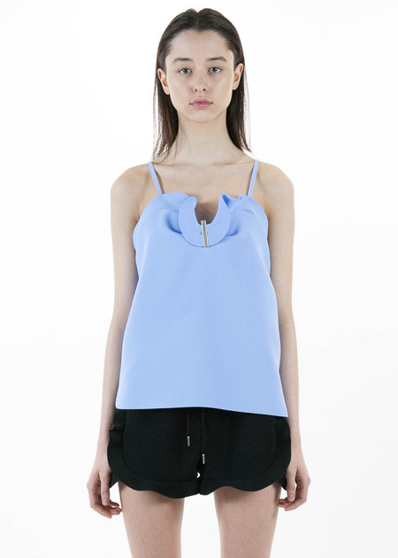 Carven Blue Ruffle Camisole in Crepe