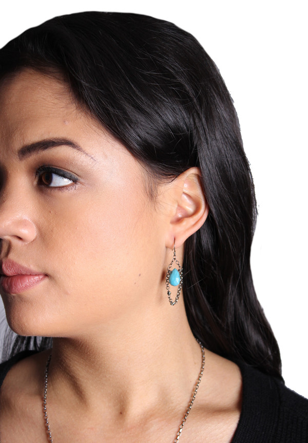 Sarah Dunn Queen Anne Turquoise Drop Earrings