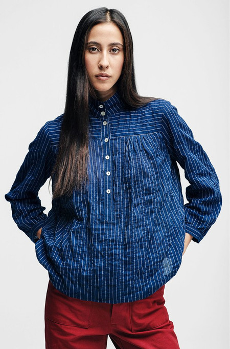 Horses Atelier High Collar Blouse - Pinstripe