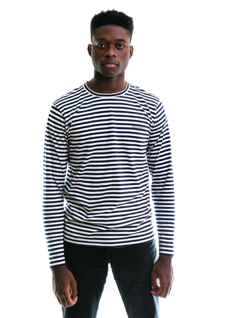 Norse Projects James Logo Stripe LS - White/Navy