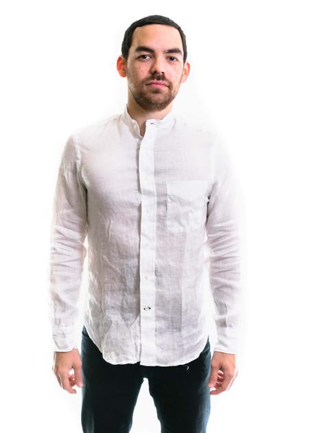 Gitman Vintage LS Linen Banded Collar Shirt - White