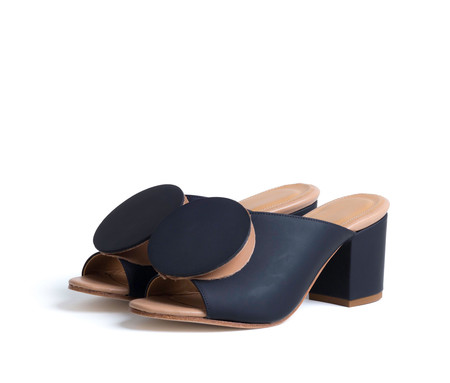 the palatines shoes salio mule w block heel & origami ornament - black super matte w tan smooth leather