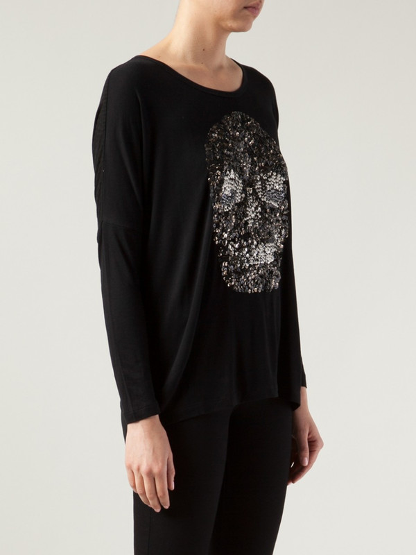 Religion Skull Sequin Top
