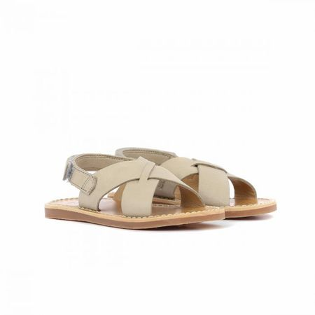 Kid's Pom D'Api Plage Stitch Grey Leather Sandal