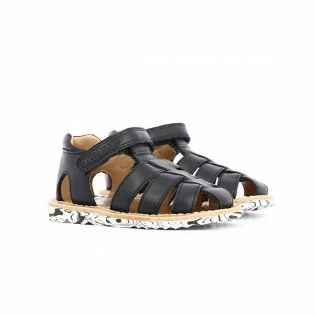 Kid's Pom D'Api Waff Pappy Black Leather Sandal
