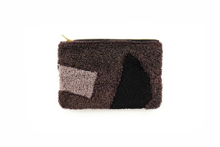 Primecut Grey Shapes Patchwork Sheepskin Clutch