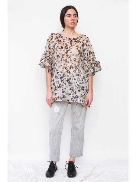 Dumitrascu Ruffled T-Shirt, Camo Grey