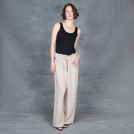 Black Crane Drawstring Pants in Oatmeal