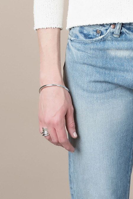 Sophie Buhai Delicate Amorphous Bangle In Sterling Silver