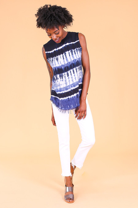 Raquel Allegra Muscle Tee in Midnight Tie Dye