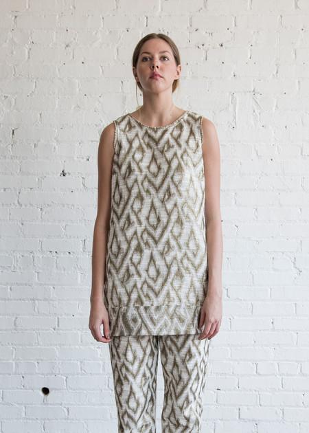 Raquel Allegra Sleeveless Shift Dress Ivory/Gold