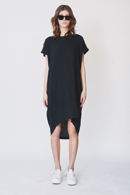 Black Crane Cotton Pleated Cocoon Dress