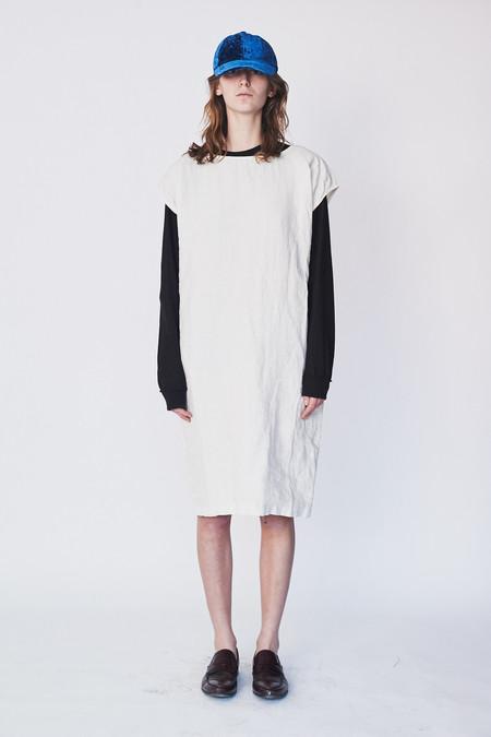 Black Crane Linen Back Slit Open Dress
