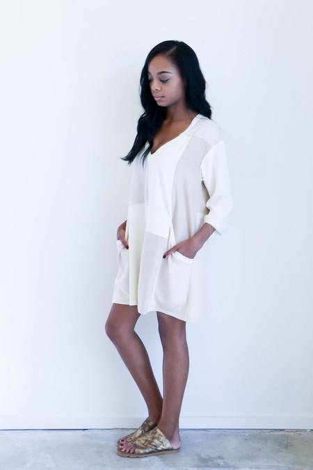 House Dress Deep V Smock in Patchwork Silk