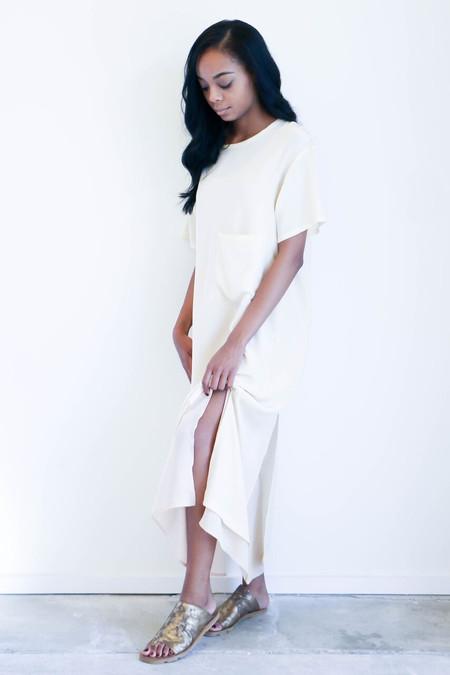 House Dress Double Layer Pocket Dress in Ecru + Blush